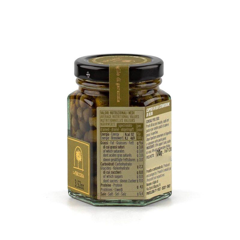 dettagli capperi di pantelleria in olio extravergine di oliva