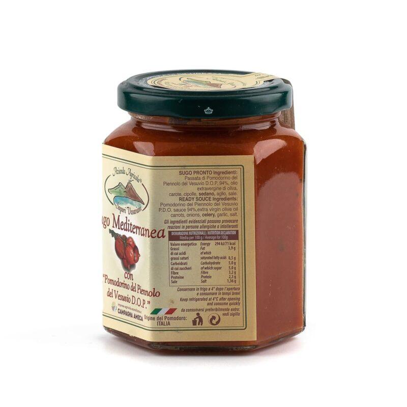 etichetta sinistra sugo mediterranea con pomodorini del piennolo del vesuvio