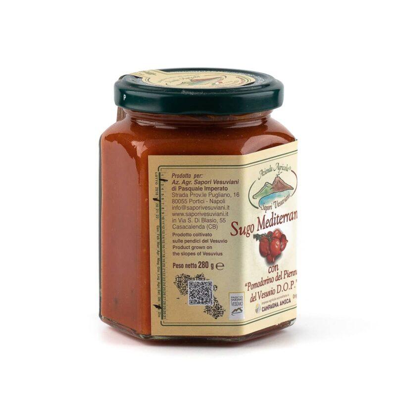 etichetta destra sugo mediterranea con pomodorini del piennolo del vesuvio