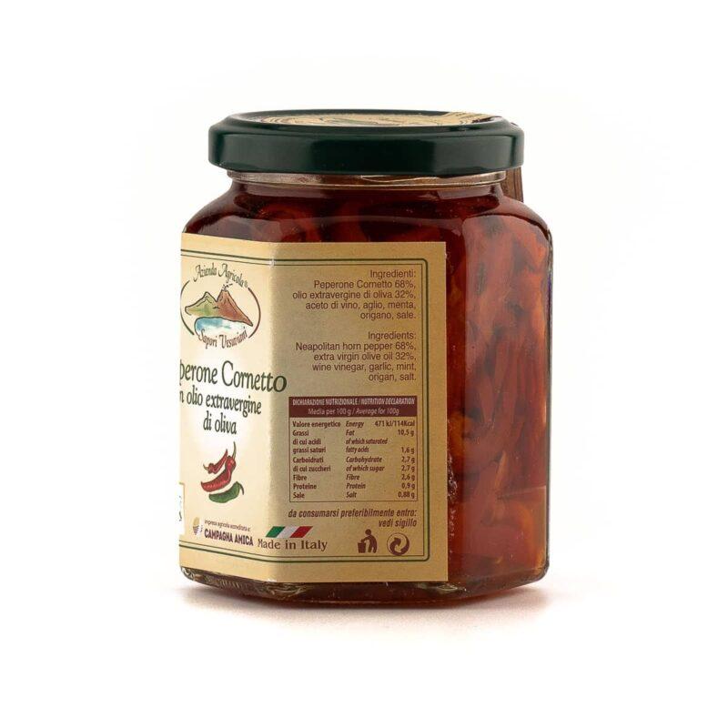 Informazioni barattolo di peperoni cornetto in olio di oliva
